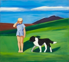 Boy and Dog in Icelandic Landscape