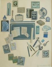 Chiclets 1975 cut paper, gouache