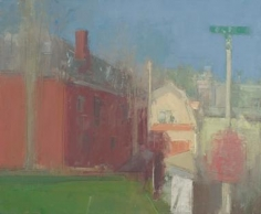10am Light, THe Red House Again, This Time with Street Sign