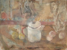 Coffee Pot and Fruit withe Berdie and Boys