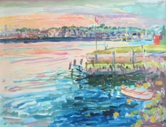 Nell Blaine Harbor and Promontory, Dusk, 1974