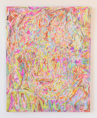 """Hayley Barker. Opened my root chakra now what? Volcano. 2017. Oil paint, colored pencil, marker, and oil pastel. 20"""" x 16"""" at Anita Rogers Gallery"""