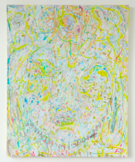 """Hayley Barker,  Lightning Lightning, 2017, oil paint, pastels, and colored pencil on panel, 20"""" x 16"""" at Anita Rogers Gallery"""