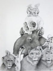 Adonna Khare, Tapir, Monkeys with Skull, 2016