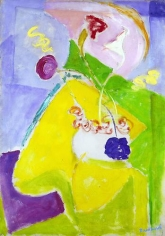 Quita Brodhead (1901-2002) Abstract Form with Yellow and Pink, circa 1950s