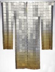 , Miya Ando, Gold Kimono, 2013, hand-dyed anodized aluminum, 22 karat gold leaf, 52 x 40 inches