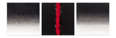 Untitled (triptych), 2014, acrylic, pen and varnishon canvas, 15.75x 47.25 inches/40x 120 cm. Photograph© Jonathan Greet
