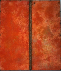 Nathan Slate Joseph, Line Drawing Orange, 2006, pure pigment on galvanised steel, 48 x 42 inches