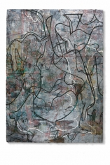 Noah Post, Elevated Company, 2016, plaster, pigment, ink, acrylic and collage on panel, 84 x 60 inches/213 x 152 cm