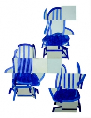 "Susan Weil, Blue Chairs, 1997, Acrylic on aluminum, 72.5 x 55"""
