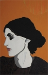 Lee Waisler, Virginia Woolf, 2007, Acrylic and wood on canvas, 72 x 48""