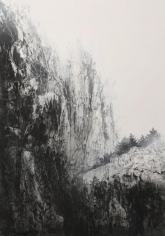 Cliff, 2012, natural, acrylic pigments on Japanese mulberry paper, 102 x 71 9/16 inches/259 x 182 cm