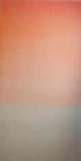 Miya Ando, Hakanai Fleeting (Orange), 2013, Hand-dyed anodized aluminum, 48 x 24 inches