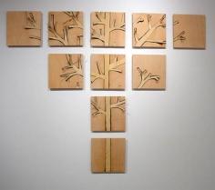 """Susan Weil, Wooden Tree, 2005, Wood veneer on wood, 56 x 70"""""""