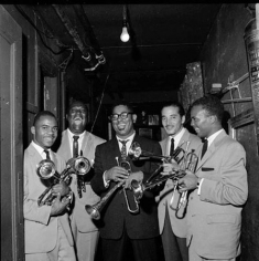 Dizzy Gillespie, Quincy Jones, Joe Gordon, E.V. Perry and Carl Warwick, New York City, 1955, 11 x 14 Silver Gelatin Photograph