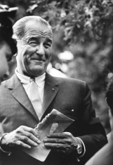 """Lyndon Johnson, New Jersey (at Kosygin Summit """"He Learns he's a Grandfather""""), 1964, Silver Gelatin Photograph"""