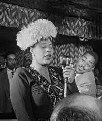 Portrait of Ella Fitzgerald, Dizzy Gillespie, Ray Brown, Milt (Milton) Jackson, and Timmie Rosenkrantz, Downbeat, New York, NY, c. September 1947, 20 x 16 Silver Gelatin Photograph