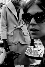 Carol Lobravico at Cafe Flore, French High Fashion, for Harper's Bazaar, Paris, France, 1962