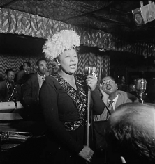 Portrait of Ella Fitzgerald, Dizzy Gillespie, Ray Brown, Milt (Milton) Jackson, and Timmie Rosenkrantz, Downbeat, New York, NY, c. September 1947, 14 x 11 Silver Gelatin Photograph