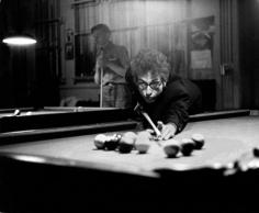 Bob Dylan playing pool, Kingston, NY, 1965, Silver Gelatin Photograph