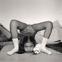 Contortionist with Sweety the Puppy, Great Raj Kamal Circus, Upleta, India, 1989