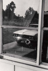 The bullet hole in Medgar Ever's home where he was assassinated in Jackson, Mississippi, June, 1963