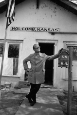 Truman Capote in front of Holcomb Kansas Post Office, 1967, Silver Gelatin Photograph