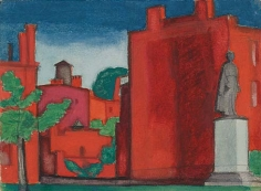 Oscar Bluemner (1867-1938), Red Building with Statue