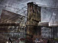 Abelardo Morell Tent-Camera Image on Ground Rooftop View of the Brooklyn Bridge Brooklyn Side