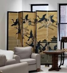 Twelve Panel Screen Depicting Birds in Flight