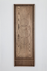 Nate Young, Reliquary for a Declaration No. 4, 2015, oak with walnut inlay, 48 x 16 x 2 1/2 inches, Courtesy of Monique Meloche Gallery