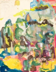 Bearden, The Gorge, c. 1956, watercolor on paper, 26 x 20 1/4 inches, ©Romare Bearden Foundation/licensed by VAGA, New York, NY.