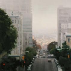 Ben Aronson, Lifting Skies Toward Potrero, 2016, oil on panel, 30 x 30 inches