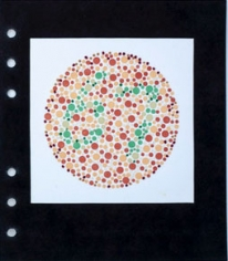 """Lydia See  Colorblindness Test - #67, 2020  """"Dvorine Pseudo-Isochromatic Plates"""", cotton embroidery thread, gouache  6 3/4h x 6w in 17.15h x 15.24w cm  LS_010  $ 250.00 unframed, The number 67 in Greenwich red, yellow, green dots and hand embroidery"""