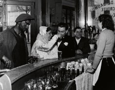 Robert Doisneau (1912-1994)  Cafe Noir et Blanc, 1948, Printed Later  Gelatin silver print  12h x 16w in 30.48h x 40.64w cm  RD_002, Black and White Photography