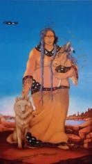 "Rabbett before Horses Strickland Winona and Nanabozhoo, oil paint on canvas, 62"" x 32"""