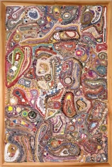 Memory Ware Flat #28, 2001. Paper pulp, tile grout, acrylic, miscellaneous beads, buttons, jewelry on wooden panel, 70-1/4 x 46-1/2 x 4 inches. MP 02-5