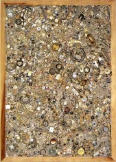 Memory Ware Flat #24, 2001. Paper pulp, tile grout, acrylic, miscellaneous beads, buttons, jewelry on wooden panel, 85 1/2 x 61 x 5 inches. MP 01-04
