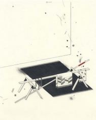 Sawhorses in Tension, 2003. Graphite, ball point pen and colored pencil, on paper 10 1/2 x 8 inches. MP D-74