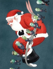 Study for Santa Clause & Bugs Bunny, 2007. Gouache on board, 21.5 x 17  inches (image) (54.6 x 43.2 cm), 24 x 19-5/8 inches (frame) (61 x 46.7 cm). MP# D-451
