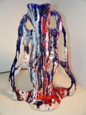Sterling Ruby, Ceramic/Agnostic RWB, 2007. Ceramic sculpture, formica pedestal, 20.5 x 17 x 12 inches (52.1 x 43.2 x 30.5 cm).
