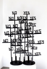YesNOYesNO, 2009. Wood, hardware, hot glue, acrylic paint, 58 x 41 x 14 inches (147.3 x 104.1 x 35.6 cm). MP 53