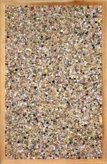 Memory Ware Flat #23, 2001. Paper pulp, tile grout, acrylic paint, beads, buttons, and jewelry, on wood panel, 70 1/2 x 46 1/2 x 4 1/2 inches. MP 01-1