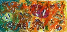 Viele Tote im Heimatland: Fanta, Sprite, H-Milch, Micky und Donald!, 2007. Oil on canvas. MP 31