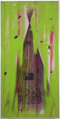 Stephen G Rhodes, Overlooked Xcorcize 6, 2009. Crayon, ink, wax, resin, green paint and collage on board, 84.25 x 42.25 inches (214 x 107.3 cm). MP 2