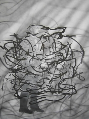 Jim Shaw, Untitled Scribble (Man with Bow-Tie), 2008. Airbrush, ink and pencil on paper