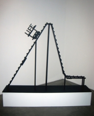 Life is a Rollercoaster, 2009. Wood, hardware, hot glue, acrylic paint, 55 x 72 x 14 inches (139.7 x 182.9 x 35.6 cm). MP 56