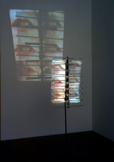 I in the Sky, 2001. Sony DPL CS2 projector, DVD player, DVD, metal, Performance by: Constance DeJong, 68 x 22 x 11 inches + equipment. MP 307