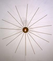 Bird Trap, 1999. Wood, metal, flashlight, 87 x 87 x 9 inches. MP 19