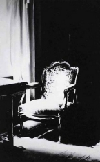 Untitled (chair in sunlight, sitting room 1938), 2000. Charcoal on mounted paper, 96 x 60 inches (243.8 x 152.4 cm). MP D-403